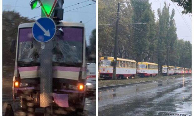 В Одессе маршрутка с пассажирами заблокировала движение трамваев (ФОТО)